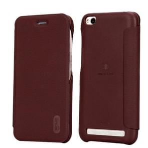 Lenuo Xiaomi Redmi 5A PU+PC Litchi Texture Horizontal Flip Leather Case Cover with Card Slot (Coffee)