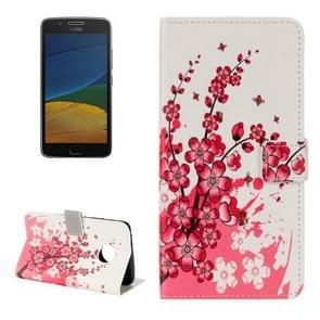 For Motorola Moto G Plus (5th Gen.) Plum Blossom Pattern Horizontal Flip Leather Case with Holder & Card Slots & Wallet