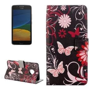 For Motorola Moto G Plus (5th Gen.) Black Butterfly Pattern Horizontal Flip Leather Case with Holder & Card Slots & Wallet