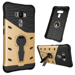 For ASUS ZenFone 3 / ZE552KL Shock-Resistant 360 Degree Spin Tough Armor TPU+PC Combination Case with Holder(Gold)