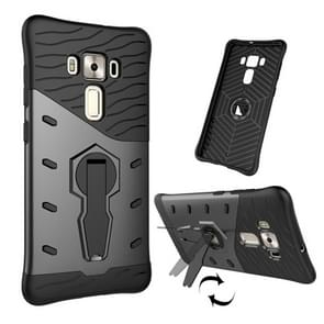 For ASUS ZenFone 3 Deluxe ZS570KL 5.7 inch Shock-Resistant 360 Degree Spin Tough Armor TPU+PC Combination Case with Holder(Black)