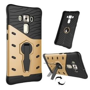 For ASUS ZenFone 3 Deluxe ZS570KL 5.7 inch Shock-Resistant 360 Degree Spin Tough Armor TPU+PC Combination Case with Holder(Gold)