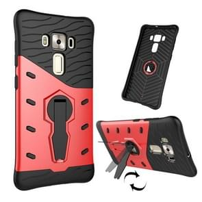 For ASUS ZenFone 3 Deluxe ZS570KL 5.7 inch Shock-Resistant 360 Degree Spin Tough Armor TPU+PC Combination Case with Holder(Red)