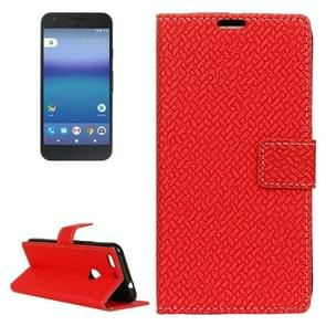 For Google Pixel XL Knit Texture Horizontal Flip Leather Case with Holder & Card Slots & Wallet (Red)