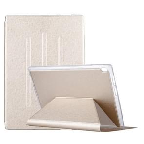 For Lenovo TAB4 TB-X304F 10.1 inch Silk Texture Horizontal Flip Leather Case with Holder (Gold)