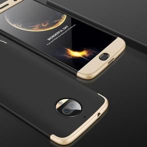 GKK voor Motorola Moto G5S PLus Three-paragraph 360 Degree Full Coverage PC beschermings hoesje Back Cover (Zwart+Goud)