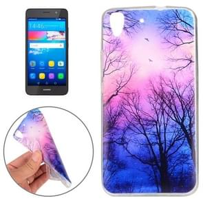 Huawei Y6 Trees and Clouds Pattern TPU Protective Case