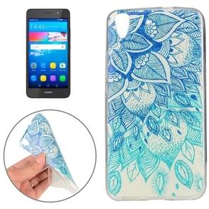Huawei Y6 Blue Leaves Pattern TPU Protective Case