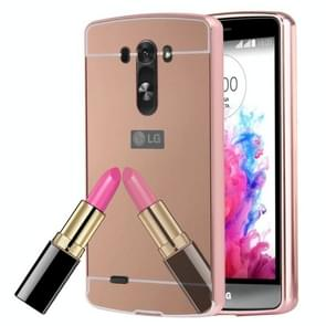 For Electroplating Mirror Push Pull PC Protective Case Back Shell Cover + Metal Bumper Frame(Rose Gold)