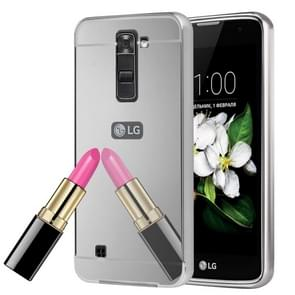 For LG K7 Electroplating Mirror Push Pull PC Protective Case Back Shell Cover + Metal Bumper Frame(Silver)