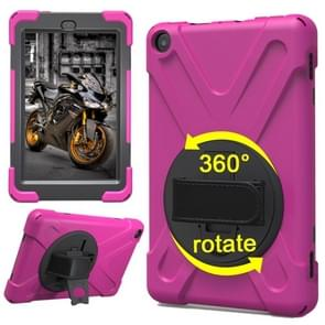 For Amazon Fire HD 8 inch (2017) 360 Degree Rotation PC + Silicone Protective Case with Holder & Hand-strap (Magenta)