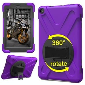 For Amazon Fire HD 8 inch (2017) 360 Degree Rotation PC + Silicone Protective Case with Holder & Hand-strap (Purple)