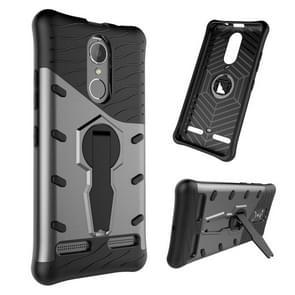 For Lenovo K6 / K6 Power Shock-Resistant 360 Degree Spin Sniper Hybrid Case TPU + PC Combination Case with Holder(Black)
