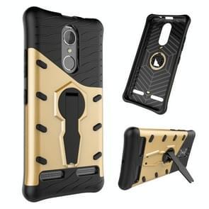 For Lenovo K6 / K6 Power Shock-Resistant 360 Degree Spin Sniper Hybrid Case TPU + PC Combination Case with Holder(Gold)