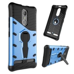 For Lenovo K6 / K6 Power Shock-Resistant 360 Degree Spin Sniper Hybrid Case TPU + PC Combination Case with Holder(Blue)