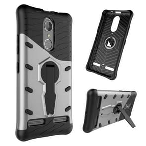 For Lenovo K6 / K6 Power Shock-Resistant 360 Degree Spin Sniper Hybrid Case TPU + PC Combination Case with Holder(Silver)