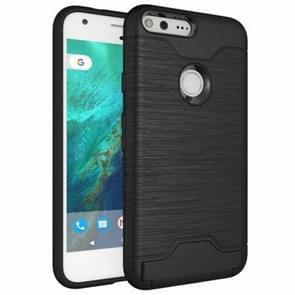 For Google Pixel Brushed Texture TPU + PC Protective Combination Case with Holder & Card Slots (Black)