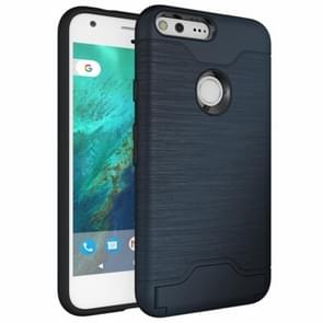For Google Pixel Brushed Texture TPU + PC Protective Combination Case with Holder & Card Slots (Dark Blue)