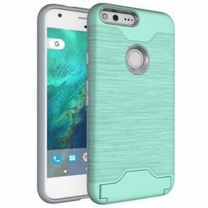 For Google Pixel Brushed Texture TPU + PC Protective Combination Case with Holder & Card Slots (Green)