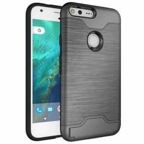 For Google Pixel Brushed Texture TPU + PC Protective Combination Case with Holder & Card Slots (Grey)
