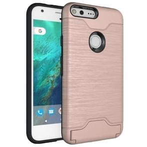 For Google Pixel Brushed Texture TPU + PC Protective Combination Case with Holder & Card Slots (Rose Gold)