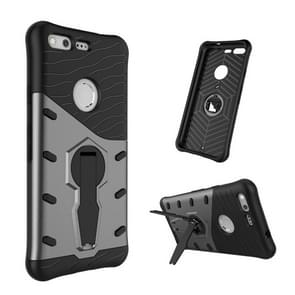 For Google Pixel Shock-Resistant 360 Degree Spin Tough Armor TPU+PC Combination Case with Holder (Black)