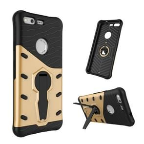For Google Pixel Shock-Resistant 360 Degree Spin Tough Armor TPU+PC Combination Case with Holder (Gold)