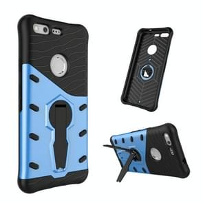 For Google Pixel Shock-Resistant 360 Degree Spin Tough Armor TPU+PC Combination Case with Holder (Blue)