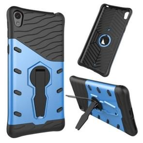 For Sony Xperia E5 Shock-Resistant 360 Degree Spin Tough Armor TPU+PC Combination Case with Holder(Blue)
