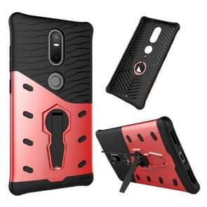 For Lenovo Phab2 Plus Shock-Resistant 360 Degree Spin Sniper Hybrid Case TPU + PC Combination Case with Holder(Red)