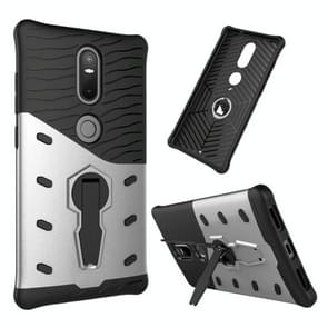 For Lenovo Phab2 Plus Shock-Resistant 360 Degree Spin Sniper Hybrid Case TPU + PC Combination Case with Holder(Silver)