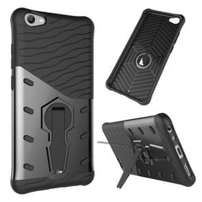 vivo V5 / Y67 Shock-Resistant 360 Degree Spin Sniper Hybrid Case TPU + PC Combination Case with Holder (Black)