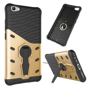 vivo V5 / Y67 Shock-Resistant 360 Degree Spin Sniper Hybrid Case TPU + PC Combination Case with Holder (Gold)