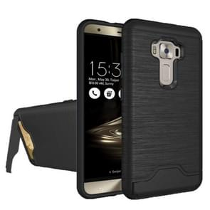 For ASUS ZenFone 3 / ZE552KL Brushed Texture Separable PC + TPU Protective Combination Back Case with Holder & Card Slot (Black)