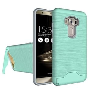 For ASUS ZenFone 3 / ZE552KL Brushed Texture Separable PC + TPU Protective Combination Back Case with Holder & Card Slot (Green)