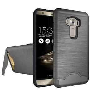 For ASUS ZenFone 3 / ZE552KL Brushed Texture Separable PC + TPU Protective Combination Back Case with Holder & Card Slot (Grey)