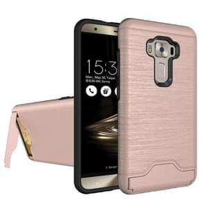 For ASUS ZenFone 3 / ZE552KL Brushed Texture Separable PC + TPU Protective Combination Back Case with Holder & Card Slot (Rose Gold)
