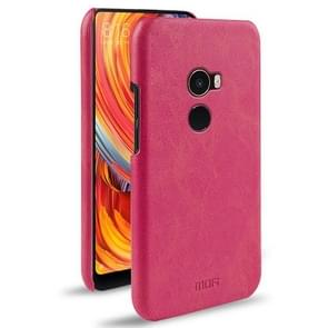 MOFI Xiaomi Mi Mix2 Crazy Horse Texture Leather Surface PC Protective Back Cover Case (Magenta)