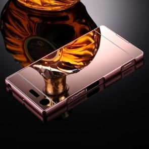 For Sony Xperia XZ Premium Mirror Push Pull Back Shell Cover + Electroplating Bumper Frame Protective Combination Case (Rose Gold)