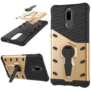 Huawei Honor 9i & Nova 2i & Maimang 6 & Mate 10 Lite & G10 PC + TPU Dropproof Sniper Hybrid Protective Back Cover Case with 360 Degree Rotation Holder(Gold)