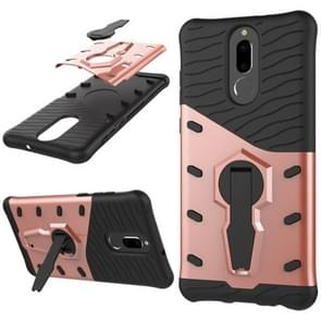 Huawei Honor 9i & Nova 2i & Maimang 6 & Mate 10 Lite & G10 PC + TPU Dropproof Sniper Hybrid Protective Back Cover Case with 360 Degree Rotation Holder(Rose Gold)