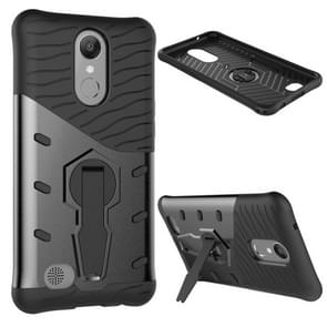 For LG K10 (2017) Shock-Resistant 360 Degree Spin Sniper Hybrid Case TPU + PC Combination Case with Holder (Black)