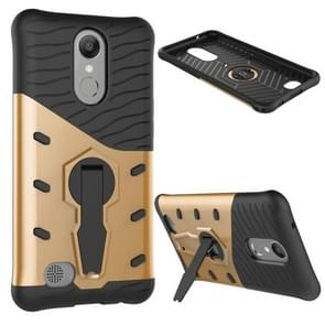 For LG K10 (2017) Shock-Resistant 360 Degree Spin Sniper Hybrid Case TPU + PC Combination Case with Holder (Gold)