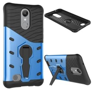 For LG K10 (2017) Shock-Resistant 360 Degree Spin Sniper Hybrid Case TPU + PC Combination Case with Holder (Blue)