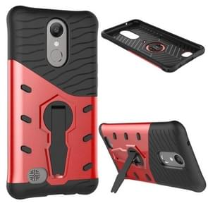 For LG K10 (2017) Shock-Resistant 360 Degree Spin Sniper Hybrid Case TPU + PC Combination Case with Holder (Red)