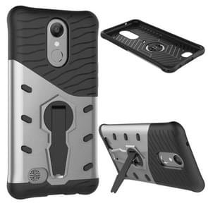 For LG K10 (2017) Shock-Resistant 360 Degree Spin Sniper Hybrid Case TPU + PC Combination Case with Holder (Silver)