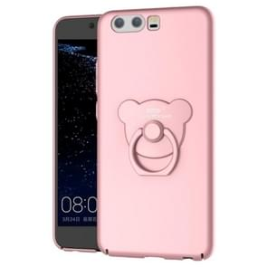 AIQAA Huawei P10 Solid color Metal Paint Plastic PC Dropproof Protective case with Bear Ring Holder(Rose Gold)