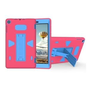 For Amazon Kindle Fire HD 8 2017 PC+Silicone Shockproof Protective Back Cover Case With Holder (Blue + Magenta)