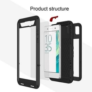 LOVE MEI for Sony Xperia XA Ultra Professional and Powerful Dustproof Shockproof Anti-slip Metal + Silicone Combination Case(Silver)