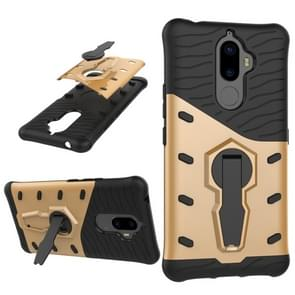 For Lenovo K8 Note PC + TPU Dropproof Sniper Hybrid Protective Back Cover Case with 360 Degree Rotation Holder(Gold)